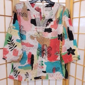 Alfred Dunner Floral Hippie Boho Blouse Top